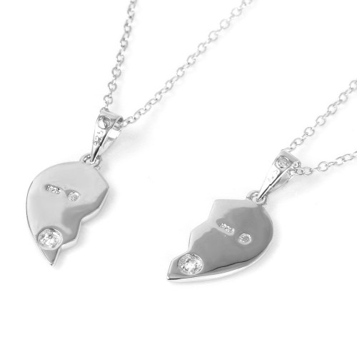 Wholesale Sterling Silver 925 Double Broken Hearts with Small CZ Stud Accents Pendant Necklace - BGP01017