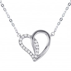 Sterling Silver Dual Open Heart Pendant with CZ Accents Necklace - BGP01028