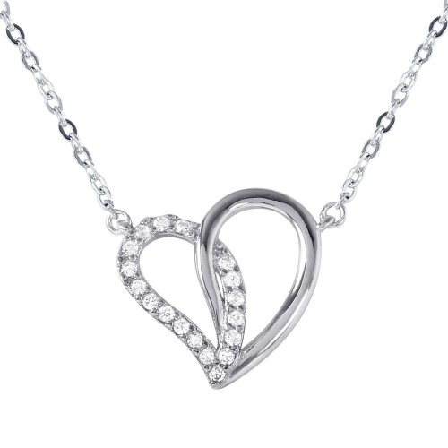 Wholesale Sterling Silver 925 Dual Open Heart Pendant with CZ Accents Necklace - BGP01028