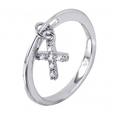 Wholesale Sterling Silver 925 Ring Dangling Cross with CZ Accents - BGR00939