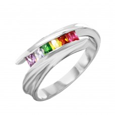Sterling Silver Overlapping Ring With Multi-Color CZ Accents - BGR00956