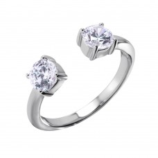 Sterling Silver Open Ring With CZ End Caps - BGR00983