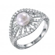 Wholesale Sterling Silver 925 Radial Bursts Synthetic Pearl Ring With CZ Accents - BGR00989