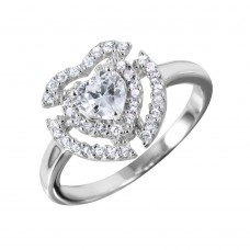 Wholesale Sterling Silver 925 Heart Shaped Ring With CZ Centerpiece and Accents - BGR00990