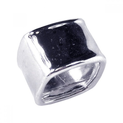 -Closeout- Wholesale Sterling Silver 925 Rhodium Plated Square Shaped Ring - STR00391
