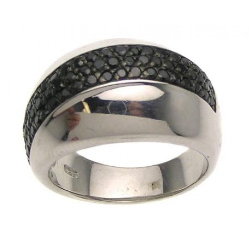 -Closeout- Wholesale Sterling Silver 925 Ring with 3 Rows of Black CZ Inlay - STR00497