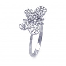Wholesale Sterling Silver 925 Rhodium Plated Butterfly CZ Ring - STR00569