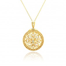 Wholesale Sterling Silver 925 Rhodium Plated Disc Designed Filigree CZ Necklace - BGP00441GP