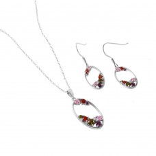 Wholesale Sterling Silver 925 Rhodium Plated Set with Multi-Colored CZ Matching Set - BGS00457