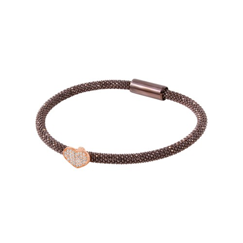 -Closeout- Wholesale Sterling Silver 925 Black Rhodium Plated Bracelet With Rose Gold Plated Heart and CZ Accents - ITB00177BLK/RGP
