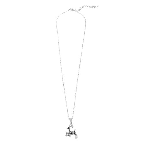 Wholesale Sterling Silver 925 Rhodium Reindeer Pendent Necklace with Stylized Design - STP01478