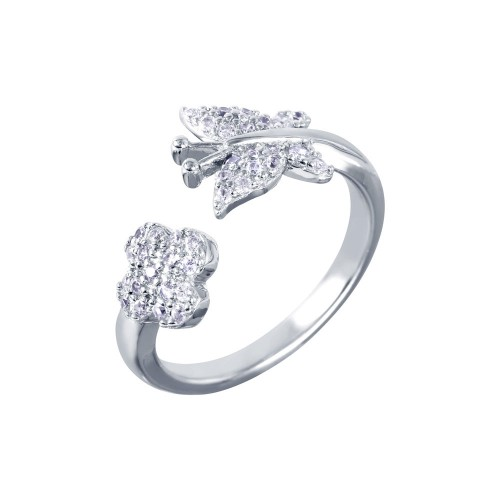 Wholesale Sterling Silver 925 Rhodium Plated Butterfly and Flower Open Ring with CZ Accents - BGR00987