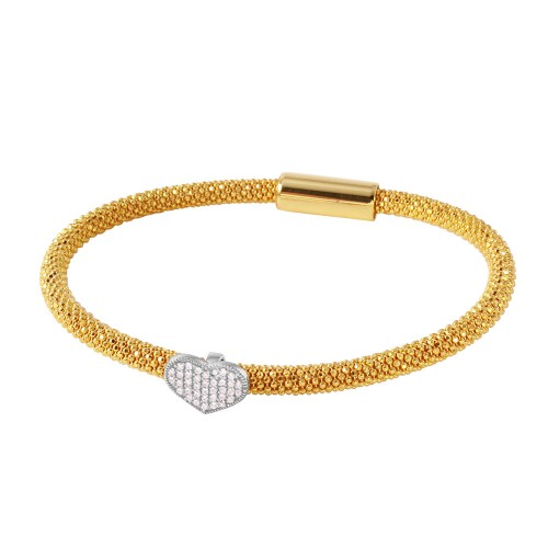 -Closeout- Wholesale Sterling Silver 925 Gold Plated Bracelet With Rhodium Plated Heart and CZ Accents - ITB00177GP/RH