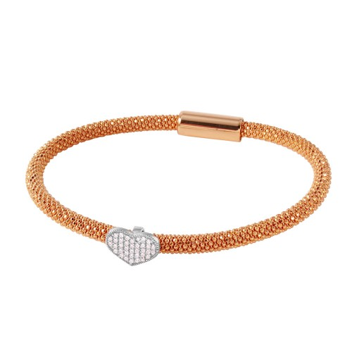 -Closeout- Wholesale Sterling Silver 925 Rose Gold Plated Bracelet With Rhodium Plated Heart and CZ Accents - ITB00177RGP/RH