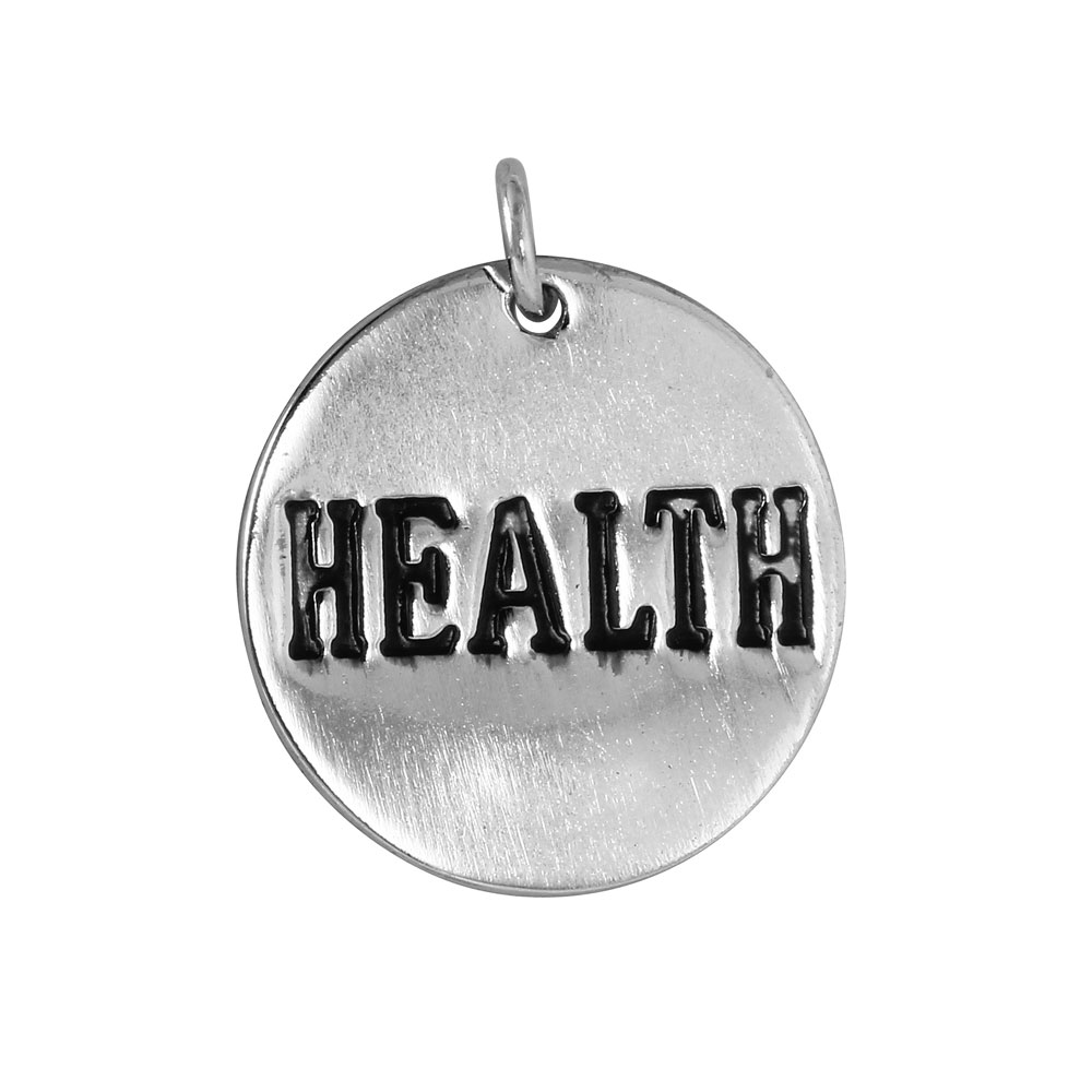 Wholesale Sterling Silver 925 'Health' Engraved Disc Pendant - CHARM008