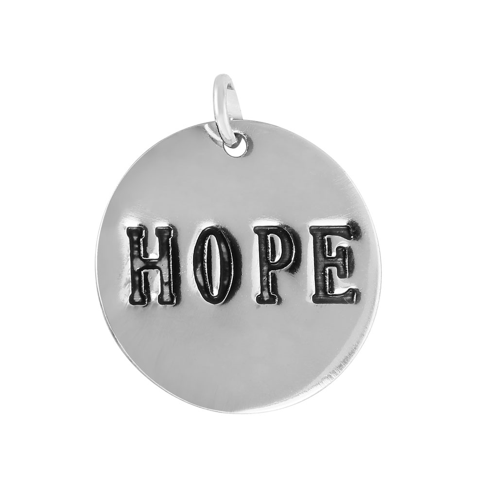 Wholesale Sterling Silver 925 'Hope' Engraved Disc Pendant - SGAY00007