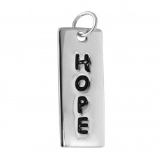 Wholesale Sterling Silver 925 Rhodium Plated Rectangular 'HOPE' Tag Pendant - STP01113