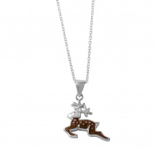 Wholesale Sterling Silver 925 Rhodium Reindeer Pendent Necklace with Dots Design - STP01479