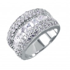 **Closeout** Sterling Silver Rhodium Plated 3 Row CZ Ring - STR00009