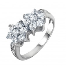 Wholesale Sterling Silver 925 Rhodium Plated Double CZ Flower Ring - STR00012