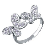 Sterling Silver Rhodium Plated Double CZ Butterfly Ring - STR00004CLR
