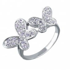 Wholesale Sterling Silver 925 Rhodium Plated Double CZ Butterfly Ring - STR00004CLR