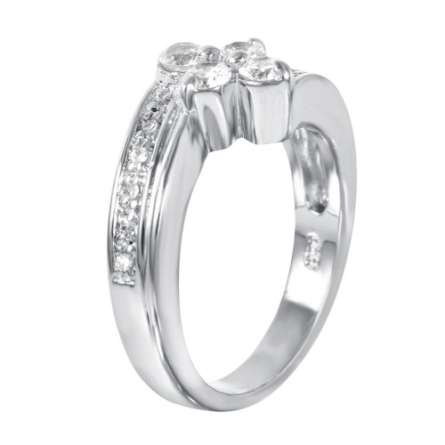 -Closeout- Wholesale Sterling Silver 925 Rhodium Plated CZ Flower Ring - STR00062
