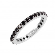 Wholesale Sterling Silver 925 Rhodium Plated Black CZ Stackable Eternity Ring - STR00119BLK