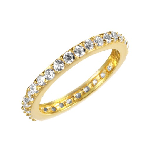 Wholesale Sterling Silver 925 Gold Plated Clear CZ Stackable Eternity Ring - STR00119GP