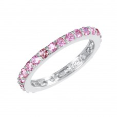 Sterling Silver Rhodium Plated Pink CZ Stackable Eternity Ring - STR00119PNK