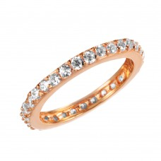 Wholesale Sterling Silver 925 Rose Gold Plated Clear CZ Stackable Eternity Ring - STR00119RGP