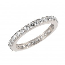 Wholesale Sterling Silver 925 Rhodium Plated CZ Stackable Eternity Ring - STR00119RH