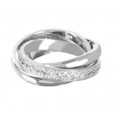 Wholesale Sterling Silver 925 Rhodium Plated CZ Movable Ring - STR00127