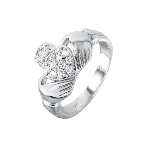 Wholesale Sterling Silver 925 Rhodium Plated CZ Claddagh Ring - STR00140