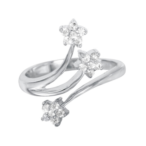 -Closeout- Wholesale Sterling Silver 925 Rhodium Plated 3 CZ Flower Ring - STR00259