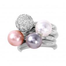 Sterling Silver Rhodium Plated Multi Color Synthetic Pearl CZ Stackable Ring - STR00316