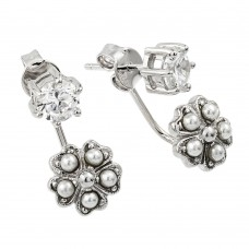 Wholesale Sterling Silver 925 Rhodium Plated Floral Earring with CZ and Pearl Accents - BGE00436