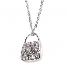 ***CLOSEOUT*** Sterling Silver Clear CZ Rhodium Plated Purse Pendant Necklace - BGP00082