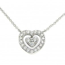 Sterling Silver Rhodium Plated Open Heart with Dangling Heart and CZ Accents BGP00250