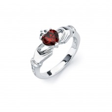 Sterling Silver Rhodium Plated Red Heart CZ Claddagh Ring - BGR00491RED