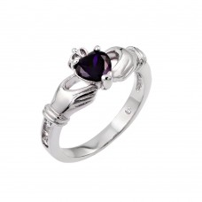 Sterling Silver Rhodium Plated Purple Heart CZ Claddagh Ring - BGR00491PUR