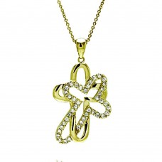 -Closeout- Wholesale Sterling Silver 925 Clear CZ Gold Plated Double Cross Pendant Necklace - STP00008GP