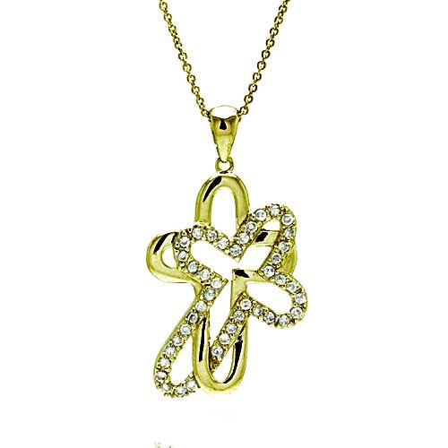 **Closeout** Wholesale Sterling Silver 925 Clear CZ Gold Plated Double Cross Pendant Necklace - STP00008GP