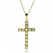 **Closeout** Wholesale Sterling Silver 925 Clear CZ Gold Plated Cross Pendant Necklace - STP00069GP