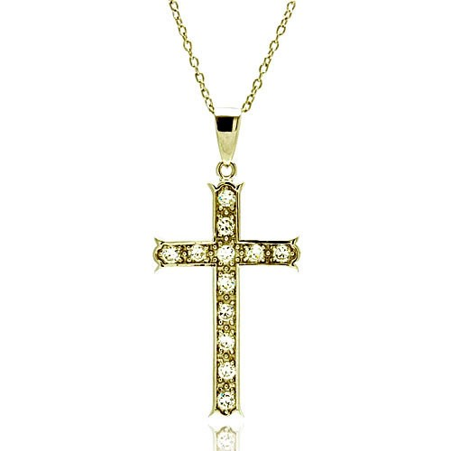 -Closeout- Wholesale Sterling Silver 925 Clear CZ Gold Plated Cross Pendant Necklace - STP00069GP