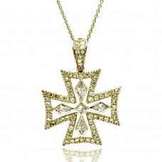 **Closeout** Wholesale Sterling Silver 925 Clear CZ Gold Plated Fancy Cross Pendant Necklace - STP00126GP