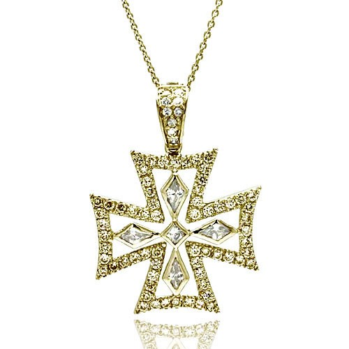 -Closeout- Wholesale Sterling Silver 925 Clear CZ Gold Plated Fancy Cross Pendant Necklace - STP00126GP
