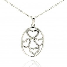 Wholesale Sterling Silver 925 Oval Pendent with Four Hearts and Diamond Accent - STP0103DIA