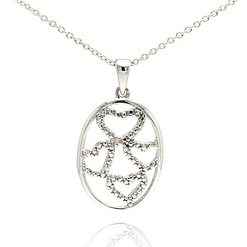 Wholesale Sterling Silver 925 Oval Pendent with Four Hearts and Diamond Accent - STP01031DIA