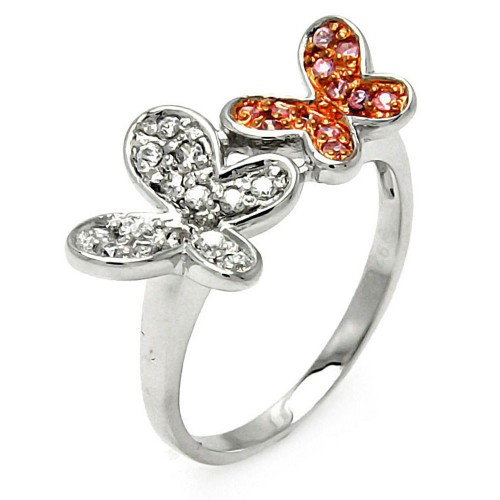Wholesale Sterling Silver 925 Rhodium and Rose Gold Plated Pink and Clear CZ Butterfly Ring - STR00004PNK/CLR